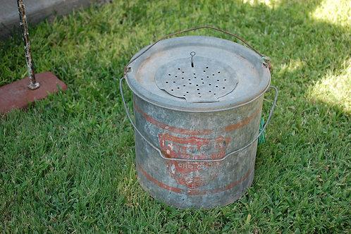 metal, bait bucket, decorative, serving