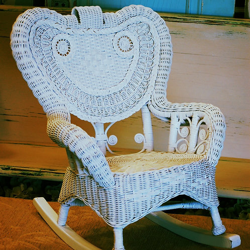 white wicker rocking chair child photography prop party event rental