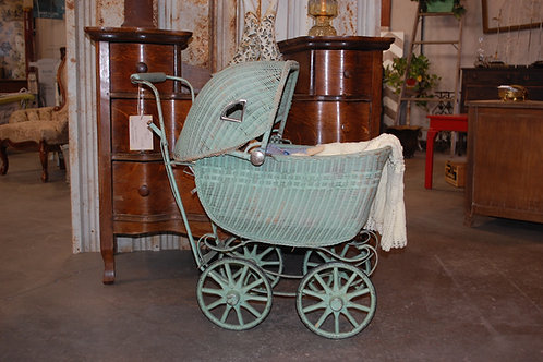 green wicker doll baby buggy party event photography decor