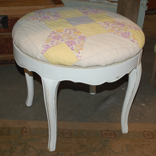 """Cora"" White Vanity Stool w/quilt cushion"