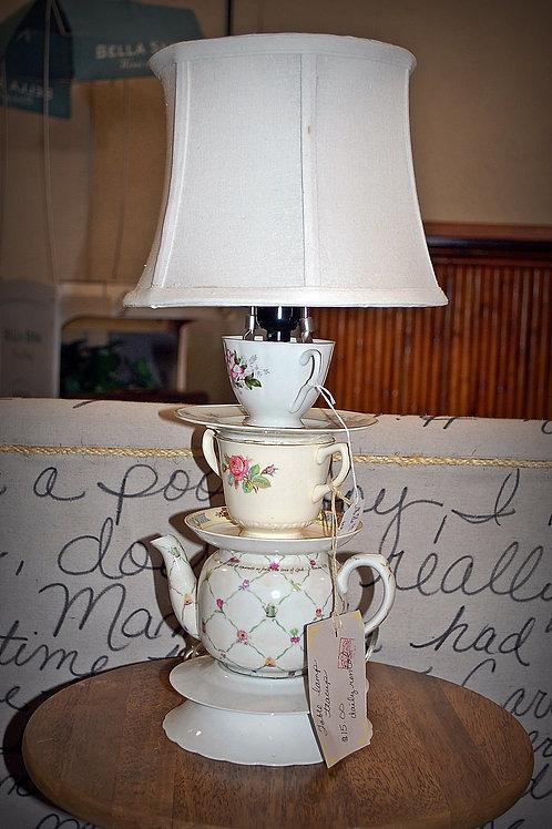 teacup lamp, lighting, decor, prop, rental