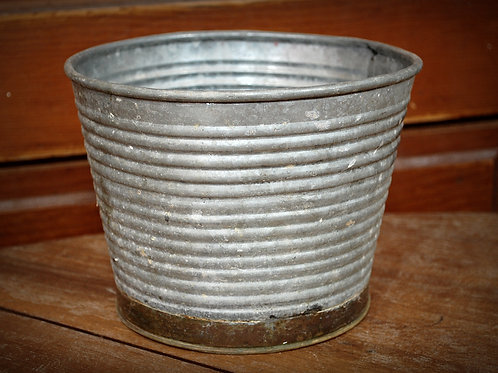 metal, bucket, serving, vessel, brass trim