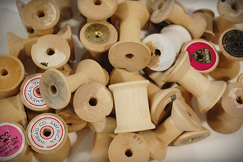 wood, sewing spools, decor, table top, rental
