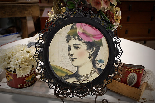 victorian lady, picture, black, metal, frame, decor, staging, table top, reception