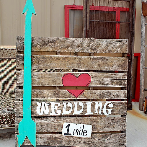 wedding sign, directional, last name, road side