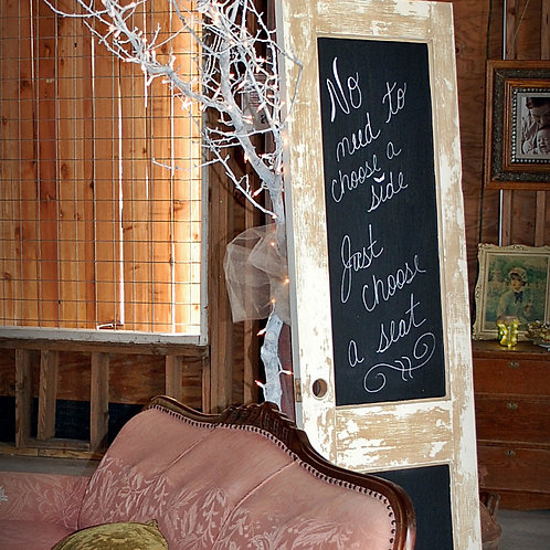 vintage door chalkboard party event wedding rental