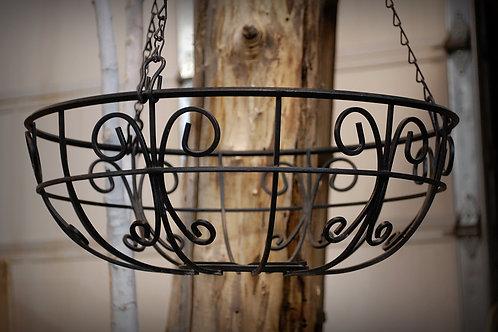 black, metal, hanging basket, serving, decorative