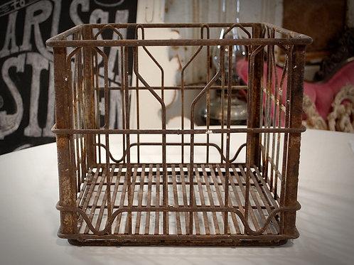 metal milk crate vintage rusty