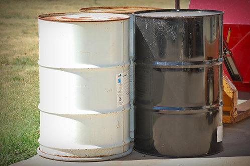 metal, storage drum, 55 gal., table base, groom, wedding, rental