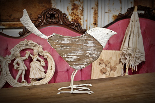 bird, metal, wood, decorative, table top, rental, shaby