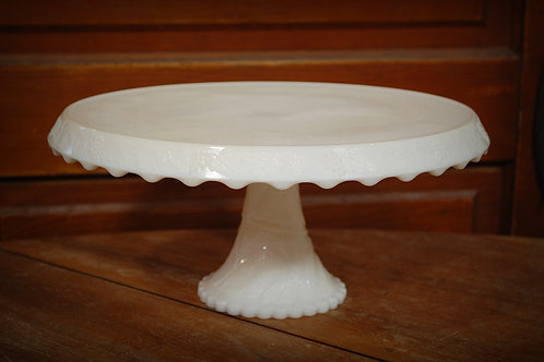 milk glass, cake, pedestal, serving, rental, event, wedding, party