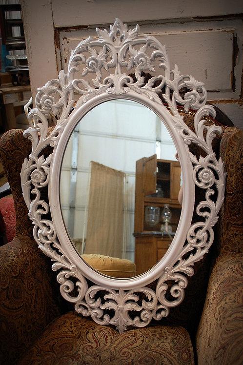 ornate, oval, mirror, white, reception, decor