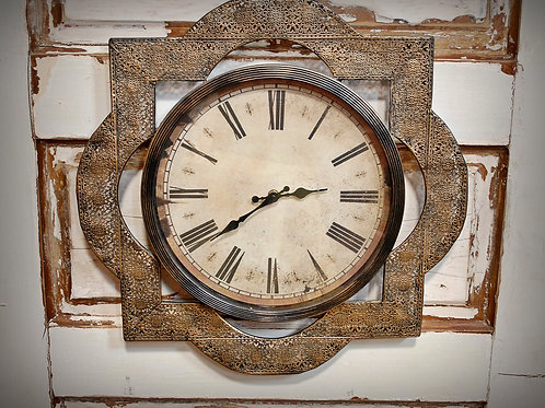 clock, wall, metal, decor, reception
