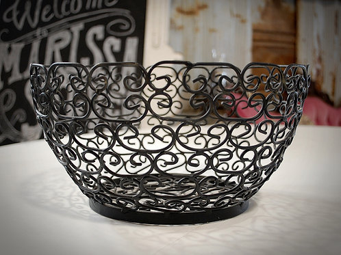 black metal decorative bowl display rental
