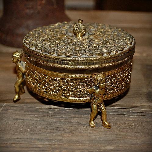 brass, powder puff, container, display, decorative, cherub