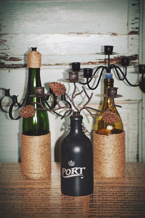 winebottle candelabra, decor, table top, center piece, wedding, rental