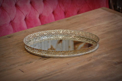 vanity tray, mirror, metal, gold, decor, rental