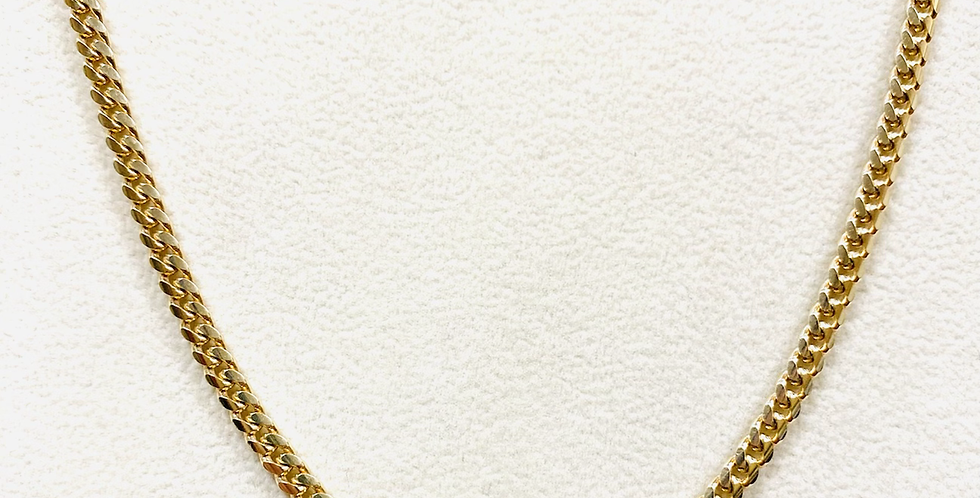 "Solid 3.2MM Miami Cuban Chain 24"" In 14K Yellow Gold 20.2 grams"