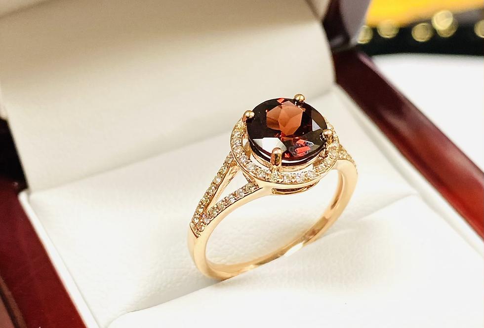 2.40 CT Round Garnet & Diamond .31 Halo Ring In 14K Rose Gold