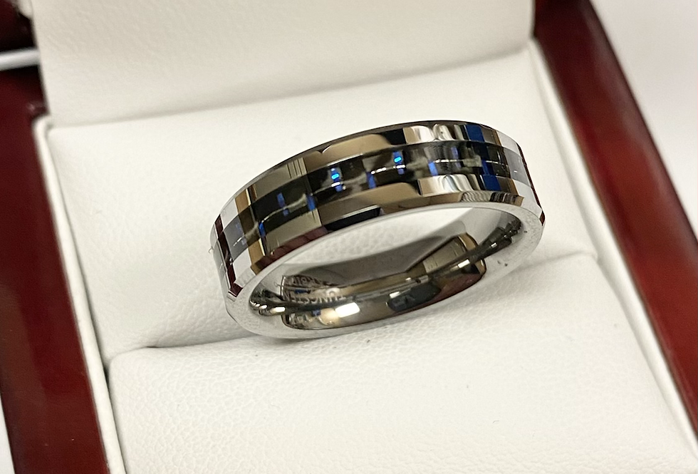 6MM Tungsten Band With Colored Center Comfort Fit