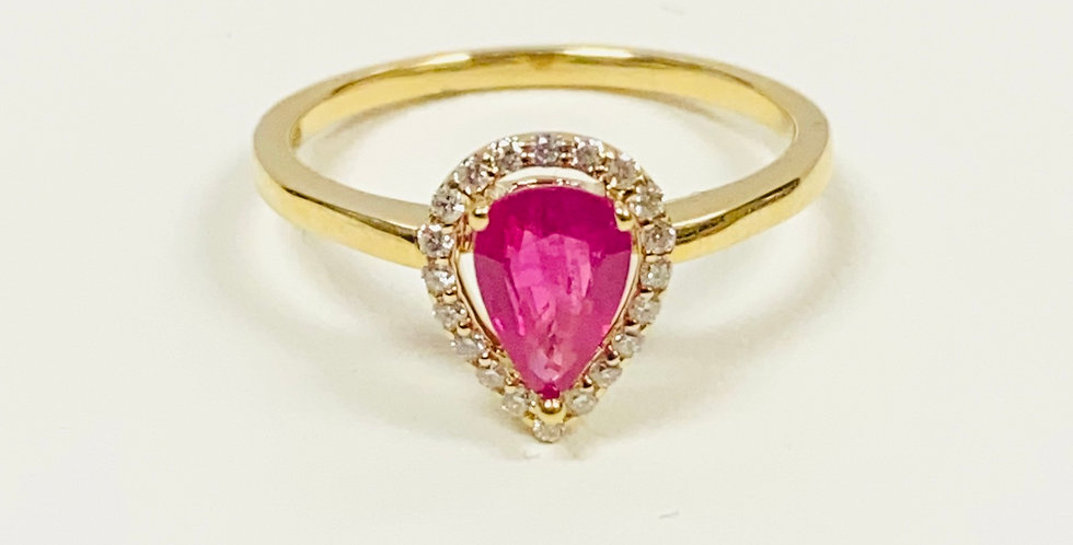 Pear Shape Ruby & Diamond Halo Ring in 14K Yellow Gold