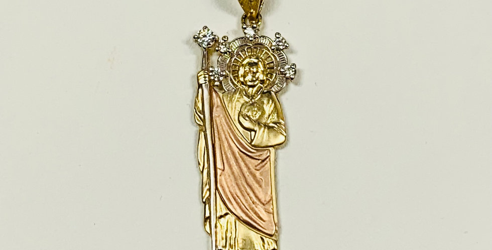 "St. Jude With Cubic Zirconia In 14k Yellow Gold 1.5"" Height"
