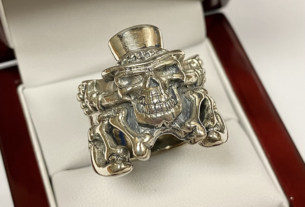 Madhatter Skull Ring In .925 Sterling Silver