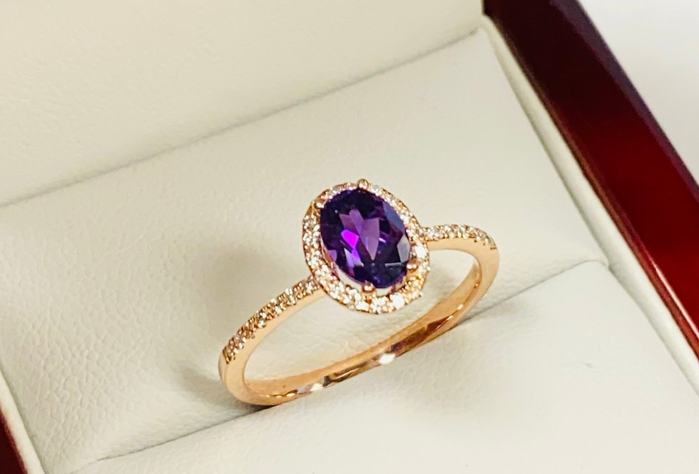 Oval Amethyst .70 ct & Diamond .17ctw Ring in 14K Rose Gold