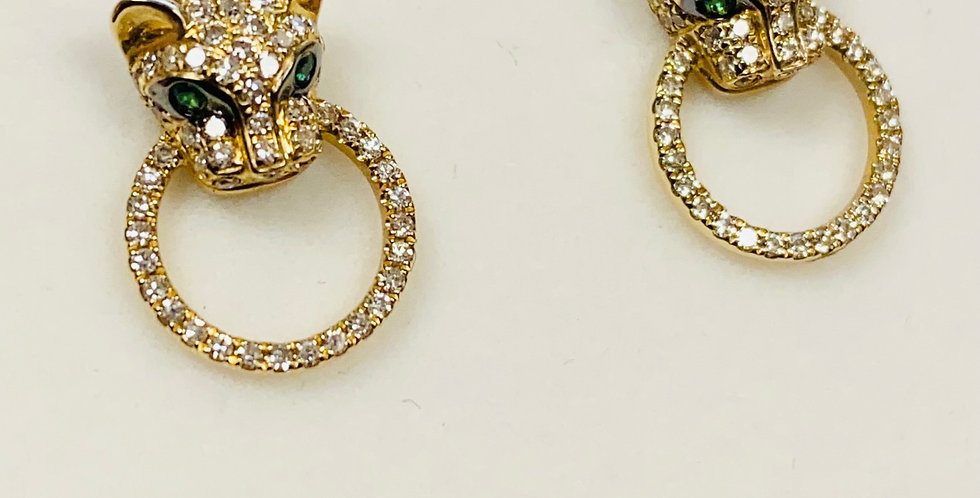 Diamond .30 ctw Panther Stud Earrings In 14K Yellow Gold
