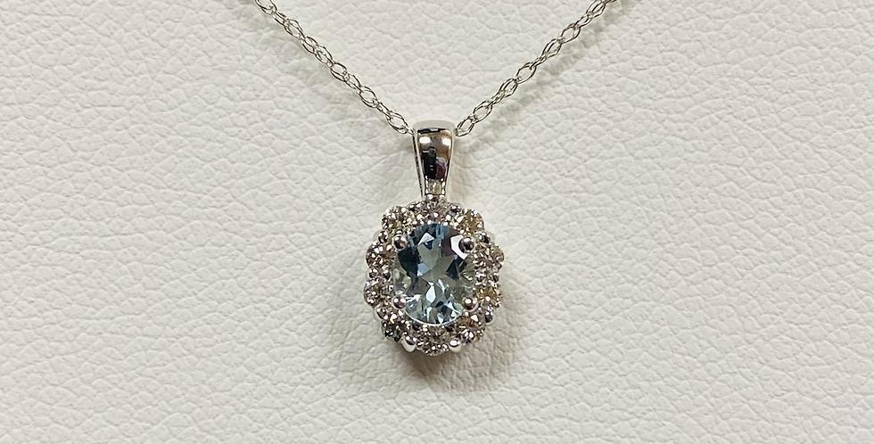 "Aquamarine & Diamond Halo Pendant In 14K White Gold With 18"" Chain"