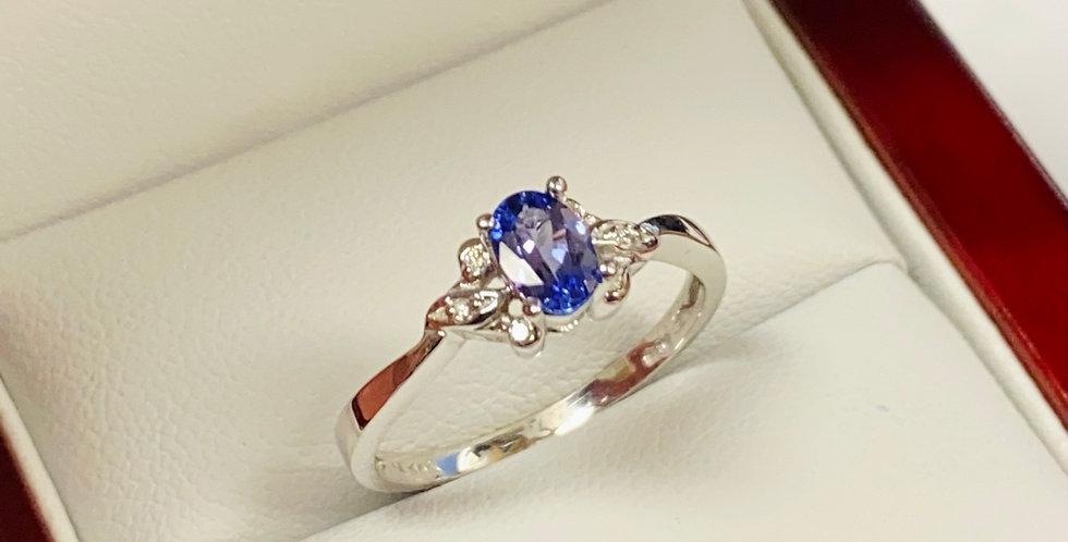 Oval Tanzanite .40 ct & Natural Diamond .03 ctw Ring in 14K White Gold