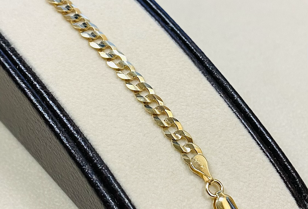 4.5 mm Solid 14K Yellow Gold Cuban Link Bracelet