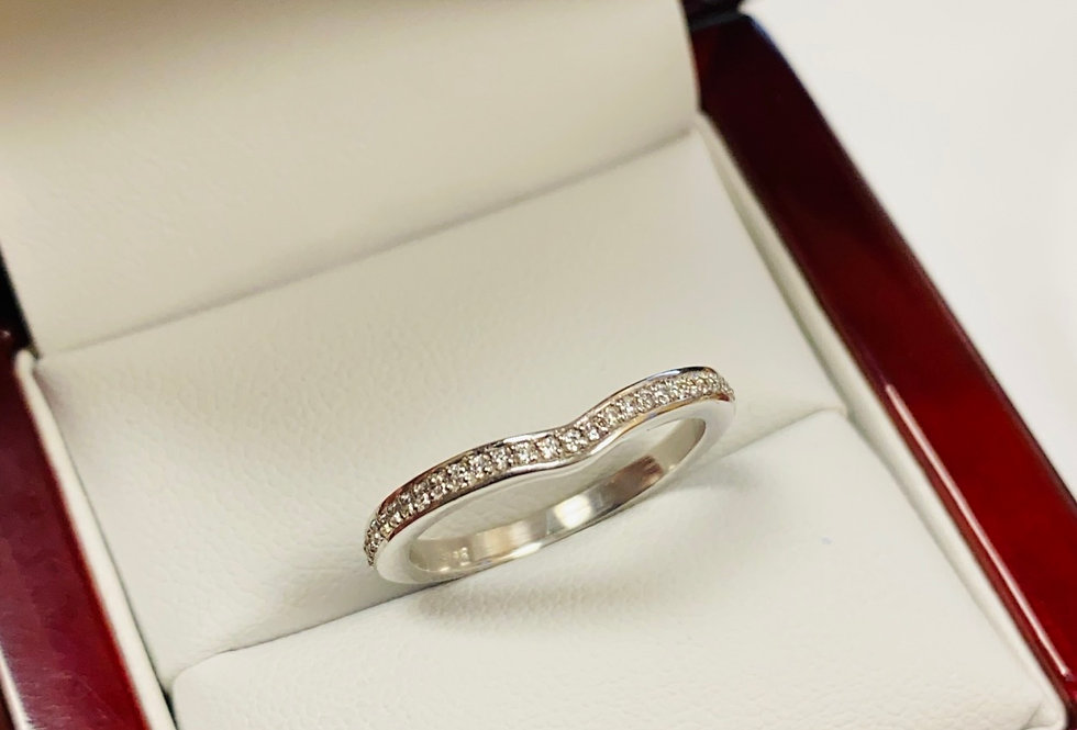 Curved Cubic Zirconia Band in 14K White Gold