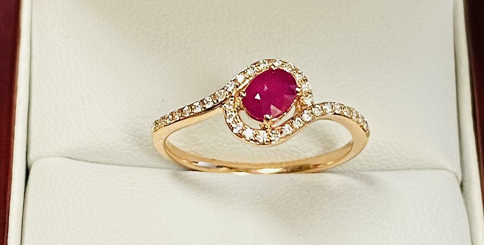 Oval Ruby & Diamond Ring Halo In 14K Rose Gold