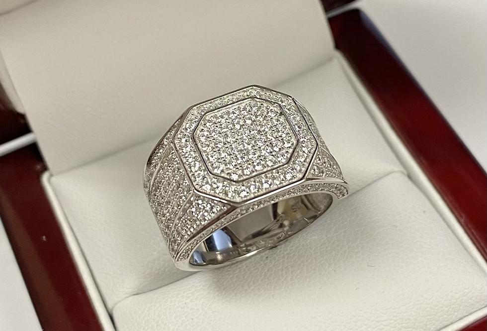 Brilliant Cubic Zirconia Men's Ring In .925 Sterling Silver