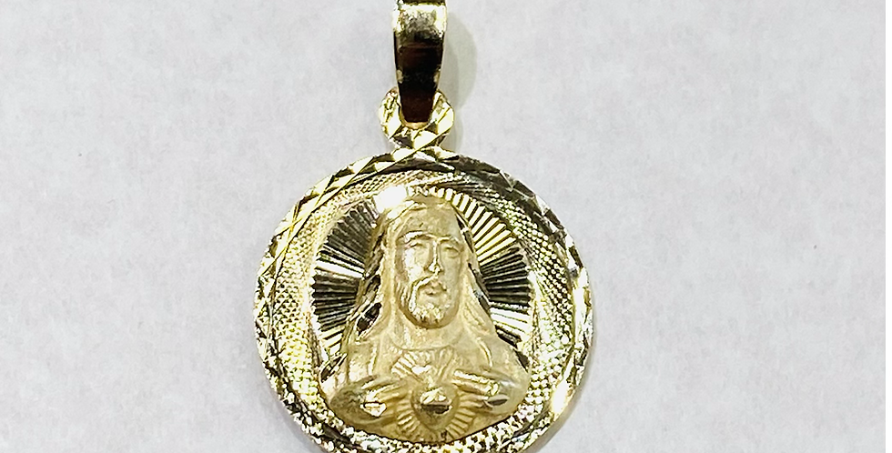 16mm Double Sided Virgin Mary & Jesus Christ Medal In 14K Yellow Gold