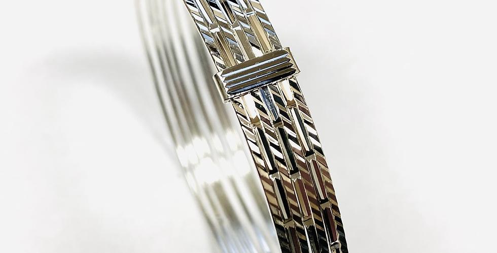 Seven Day Bangle Set Diamond Cut In .925 Sterling Silver 17 Grams