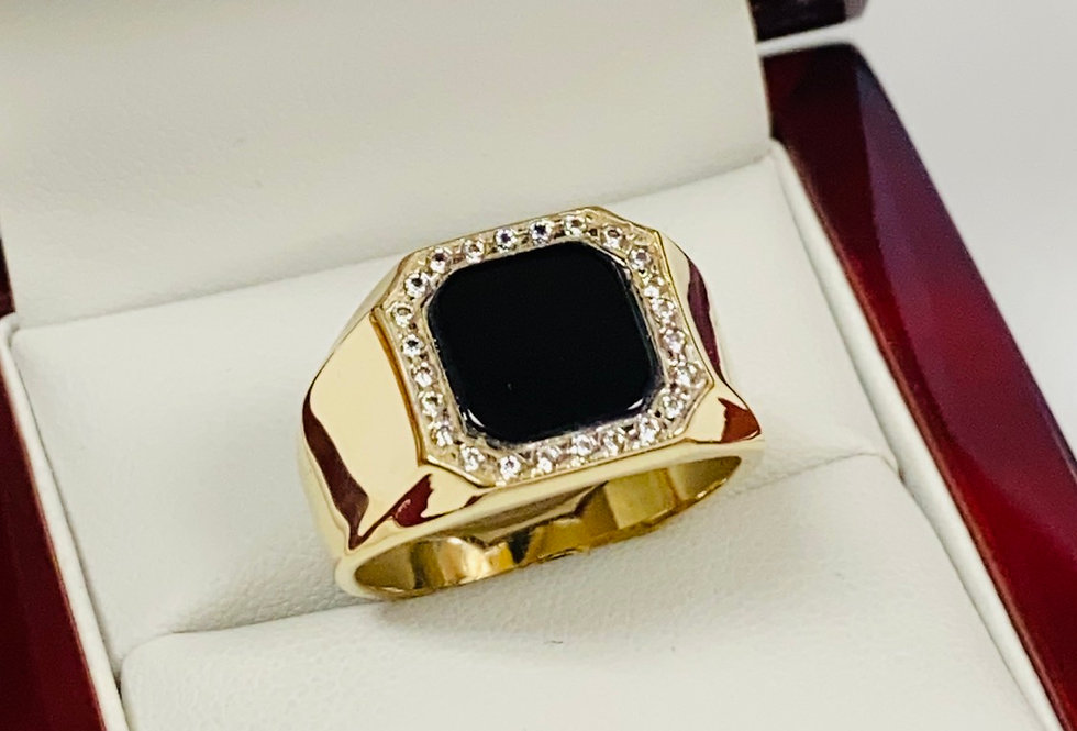 Onyx & Cubic Zirconia Men's Ring In 14K Yellow Gold