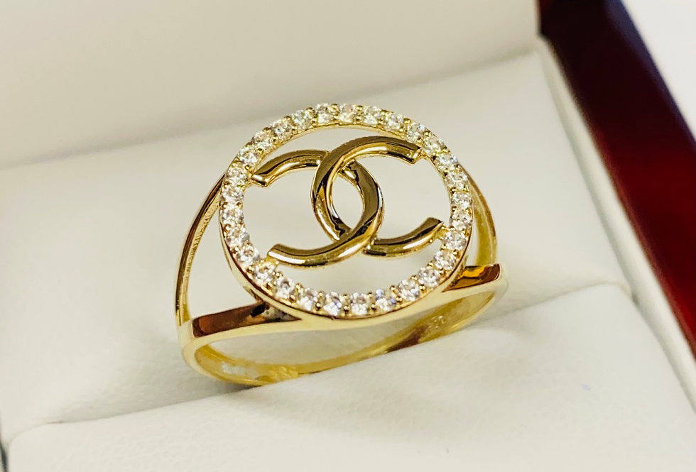 Open CC Cubic Zirconia Ring In 14K Yellow Gold