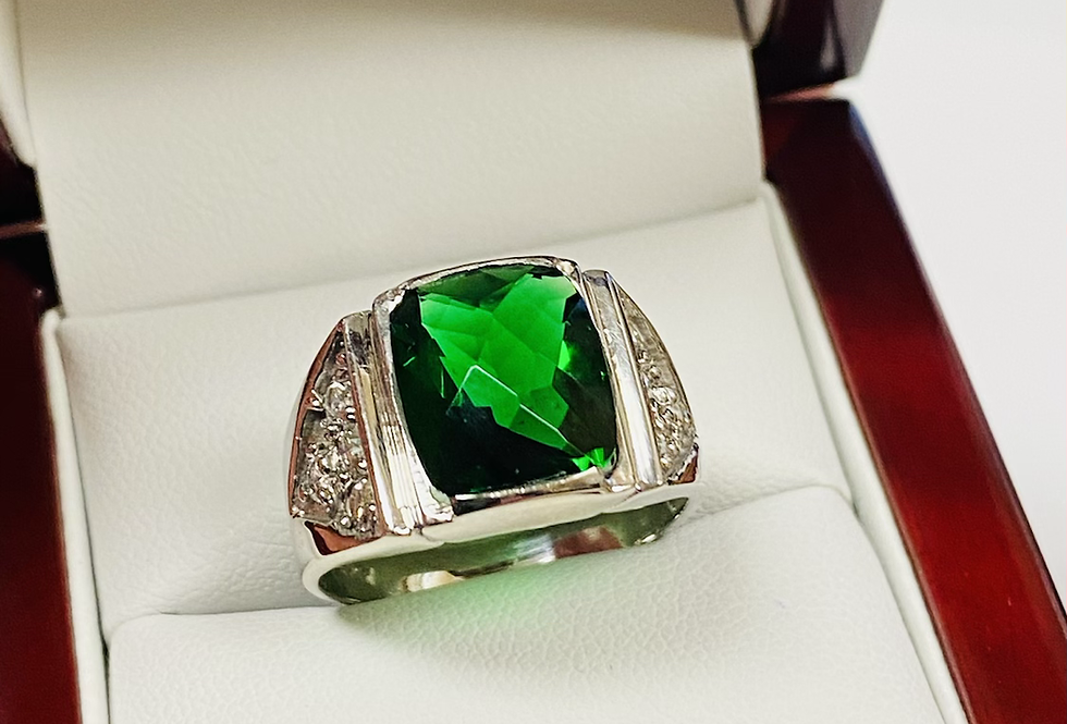 .56 CTW Diamond Men's Ring With Synthetic Emerald In 14K White Gold