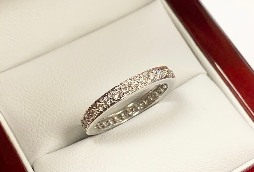.68 CTW Pave Eternity Diamond Band In 14k White Gold