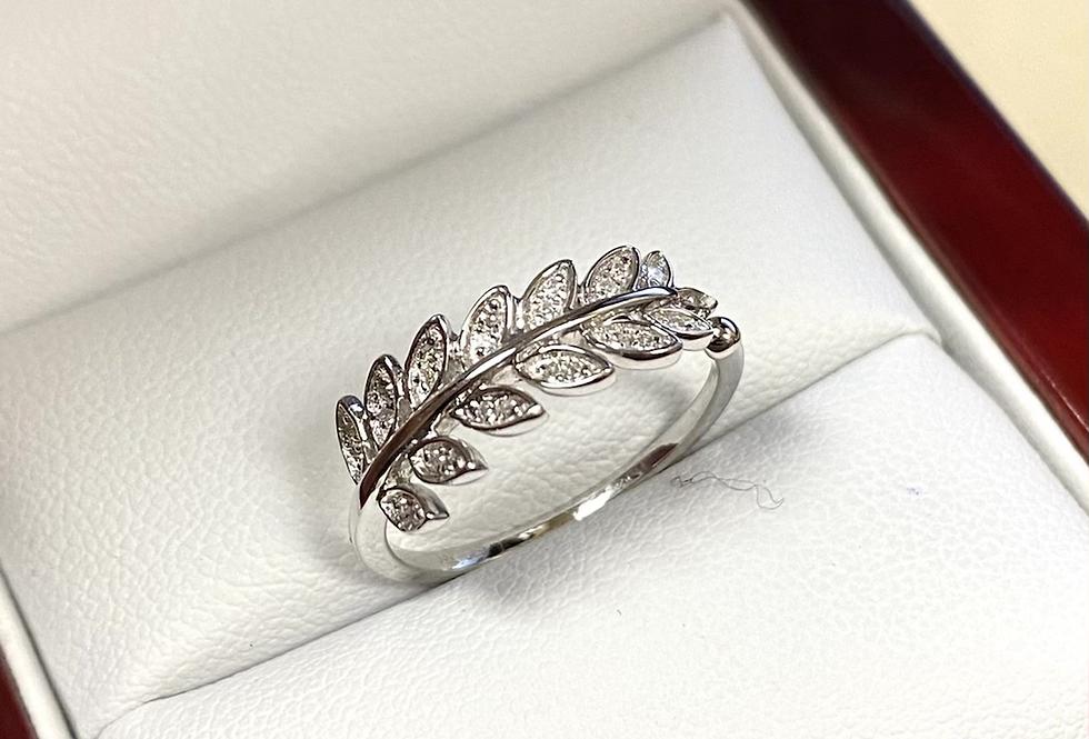 Diamond .09 ctw Leaf Ring In 14K White Gold