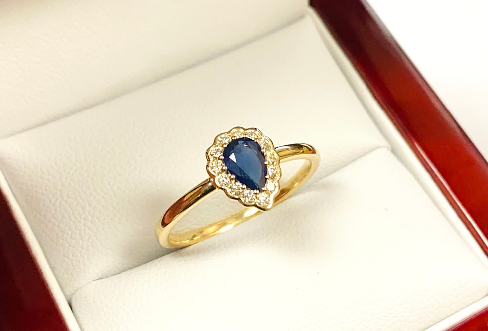 Pear Shape Sapphire .52ct & Natural Diamond Halo .14 ctw Ring in 14K Yellow Gold