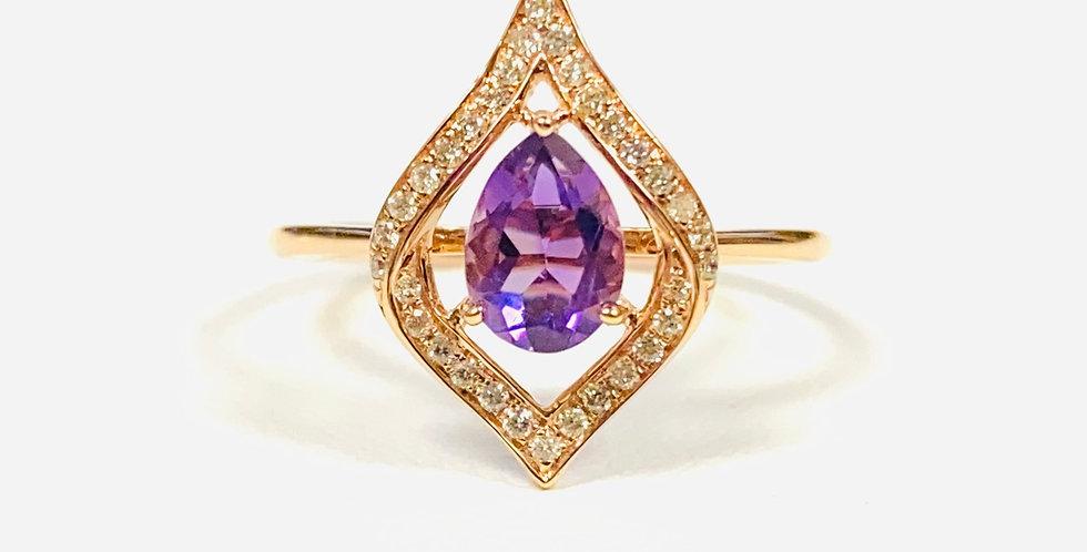 Amethyst .65ct & Diamond .14 ctw Ring in 14K Yellow Gold