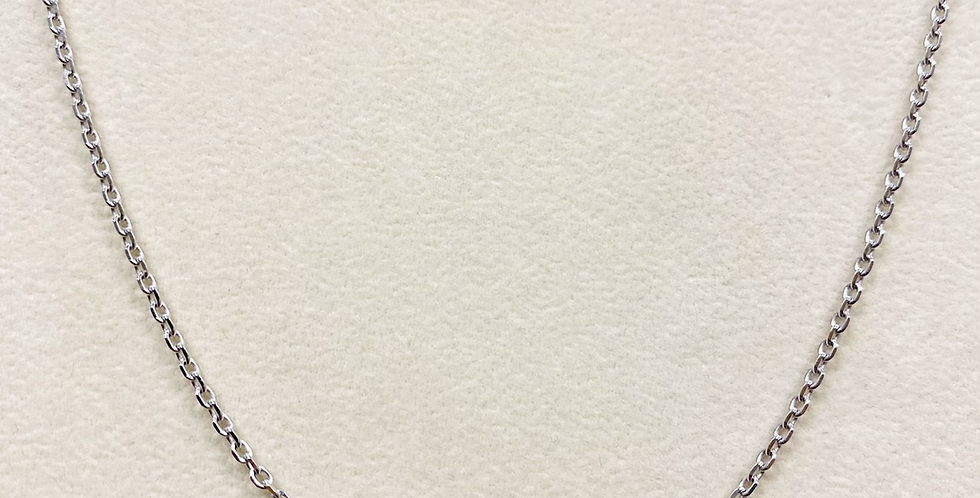 Diamond Cut Cable Chain #50 In 14k White Gold With Lobster Clasp
