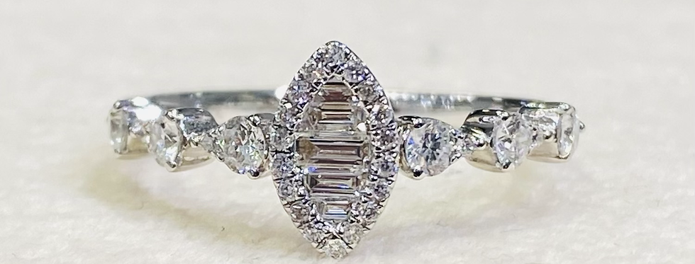 .55 ctw Cluster Diamond Marquise Shaped Engagement Ring In 14k White Gold