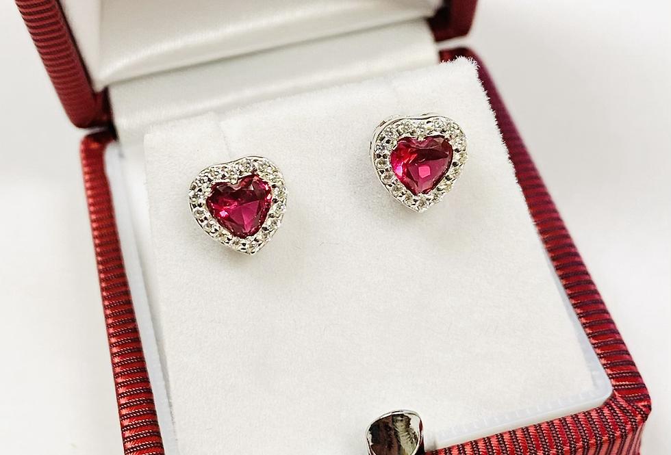Red Heart Shape CZ Stud Earrings in .925 Sterling Silver