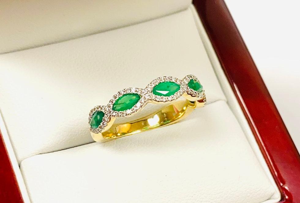 Emerald .80 ct & Diamond .20 ctw Band in 14K Yellow Gold