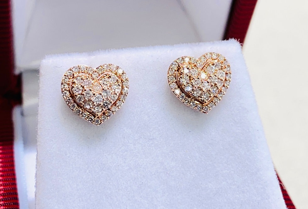 .42 CTW Diamond Cluster Heart Shape Stud Earrings in 14K Yellow Gold