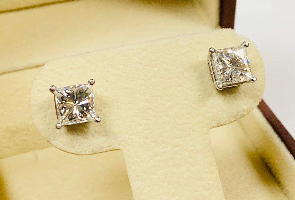 3.5 CTW Princess Cut Moissanite Diamond Stud Earrings in 14K White Gold